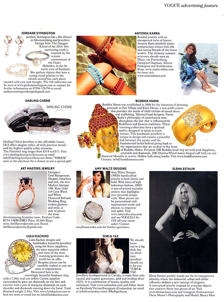 Buddha Mama Jewelry - British Vogue APRIL 2015